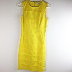 Calvin Klein yellow cotton sleeveless shift dress